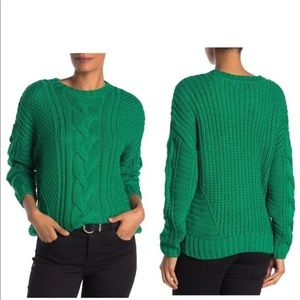 ONE A Green Mixed Knit Pullover Crewneck Long Sleeve Casual Sweater Size M NWT